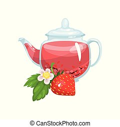 Natural herbal tea in a glass transparent teapot with fresh mint and strawberry vector Illustration