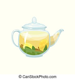 Natural herbal tea in a glass transparent teapot with lemon vector Illustration