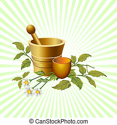 Illustrated natural herbalist products with cup and flowers, with beams background
