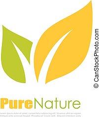 natural, hoja, logotipo