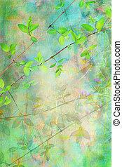 natural, hojas, artístico, plano de fondo, grunge, hermoso