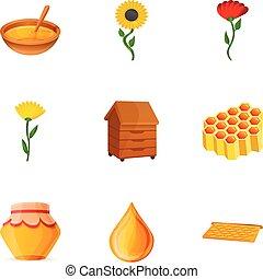 Natural honey icon set, cartoon style