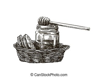 natural honey in a jar and a basket of bread
