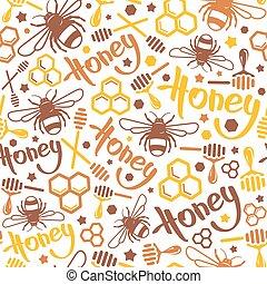 Natural honey seamless pattern