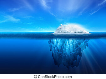 Natural Iceberg with Polar Bear - A polar bear on top of a...