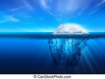 Natural Iceberg with Polar Bear - A polar bear on top of a...
