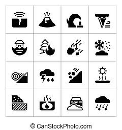 natural, iconos, conjunto, desastre