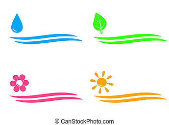 natural icons with water drop, sun