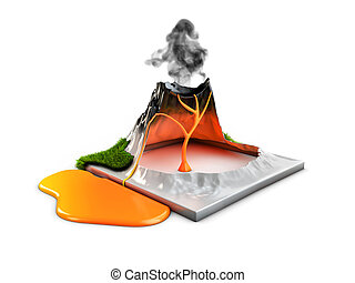 natural, illustration., erupção, quentes, vulcão, lava, capim, estrutura, 3d