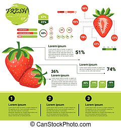 natural, infographics, fresco, crecimiento, fruits, cultivo...