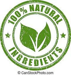 natural, ingredientes, estampilla