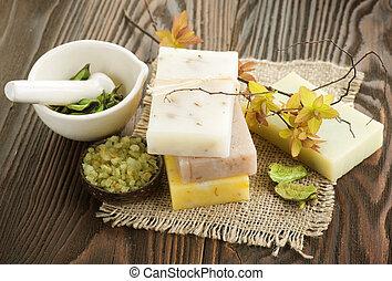 natural, ingredientes, madeira, sobre, feito à mão, fundo,...