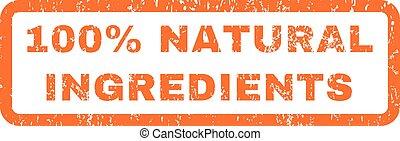 natural, ingredientes, selo, cento, borracha, 100
