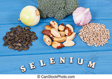 Natural ingredients or products as source selenium, vitamins, minerals and dietary fiber, healthy nutrition concept