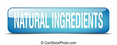 natural ingredients blue square 3d realistic isolated web button