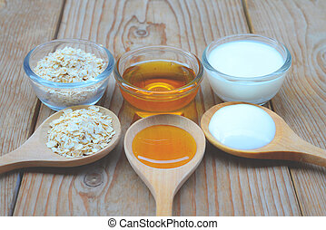 Natural Ingredients for Homemade Body Face Scrub Oat honey and yogurt. Beauty Concept.