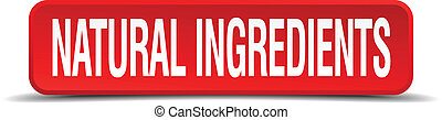 natural ingredients red 3d square button isolated on white