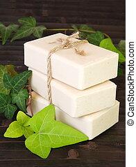Stack of Natural Ingredients Soap Bars Vertical