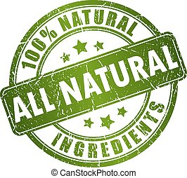 Natural ingredients stamp isolated on white background