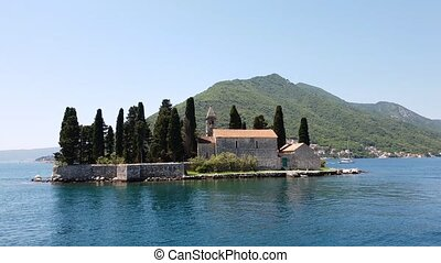 Natural islet with Saint George Benedictine monastery. Kotor...