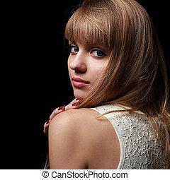 natural, jovem, blong, senhora, olhar, com, smile., closeup, retrato