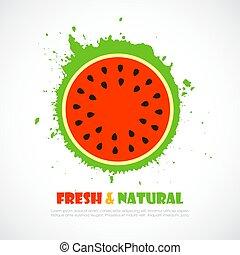natural, jugo, vector, sandía, fresco, icono