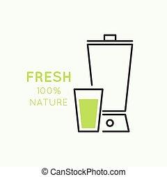 natural juice - Blender with freshly prepared natural...