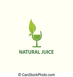 Natural juice, healthy drink. Vector logo template