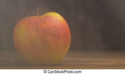 Natural juicy apple from which blows cool and fresh in the...