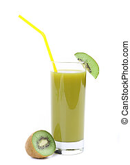 Natural kiwi juice in glass. A white background.