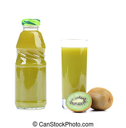 Natural kiwi juice in glass and bottle.