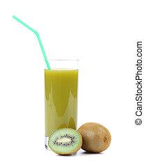 Natural kiwi juice in glass.