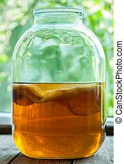 natural, kombucha, fermentado, chá, bebida, saudável, bebida...
