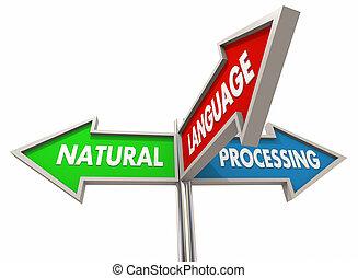 natural, língua, processando, ilustração, máquina, fala, aprendizagem, sinais, reconhecimento, 3d
