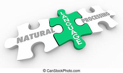 natural, língua, quebra-cabeça, processando, profundo, pedaços, ilustração, aprendizagem, 3d