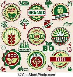 set vector labels and emblems of natural and bio products