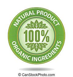 100 percent natural product sign