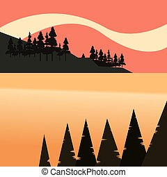natural, lago, árvores, costa baía, floresta, paisagem