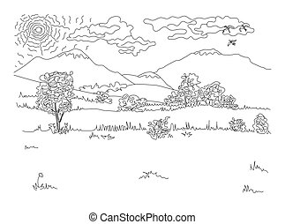 Natural landscape freehand drawing with editable stroke and grouped elements