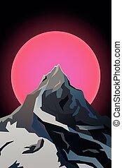 Futuristic landscape background of the mountain peak