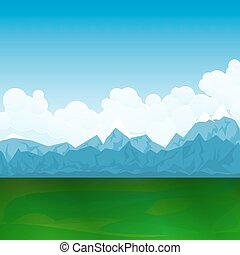 Natural Landscape, Green Field and Mountains