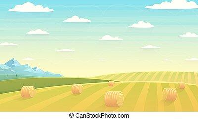 Natural landscape hay field - Natural landscape, hay field....
