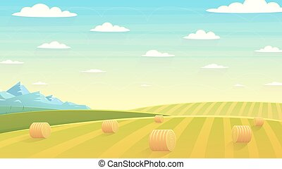 Natural landscape hay field - Natural landscape, hay field. ...