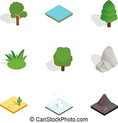 Natural landscape icons set, isometric 3d style