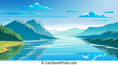Natural landscape, mountains and lake, beautiful morning ...