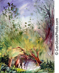 Natural landscape painted by watercolor