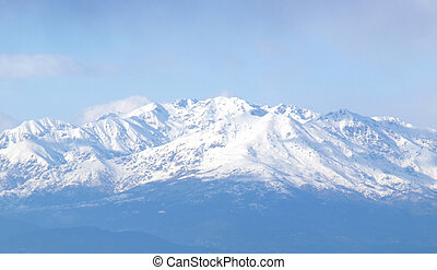 Natural landscape view of snow covered Alps mountains