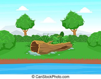 Natural Landscape with Blue River, Green Trees and Dry Tree Trunk on the River Bank Vector Illustration