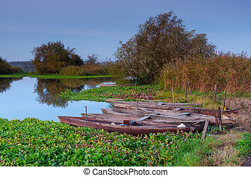 Natural landscape with boats in the water at sunset. Amazing lake with small artisanal fishing boats.