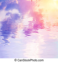 cloudy sky reflected in water